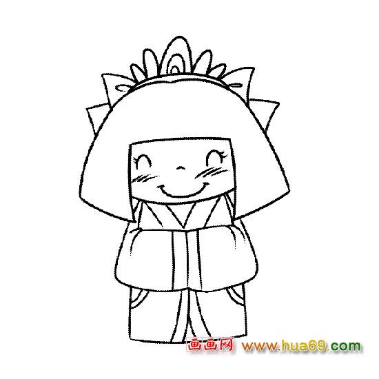微笑公主-人物简笔画,画画网