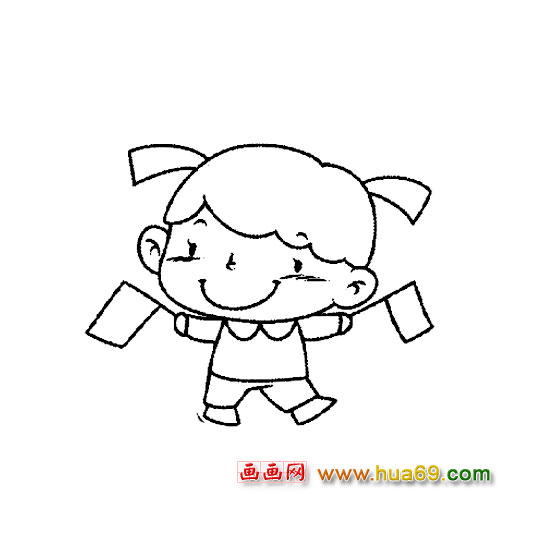 挥旗子的小女孩-人物简笔画