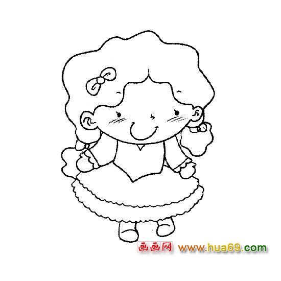 活泼的小女孩-人物简笔画