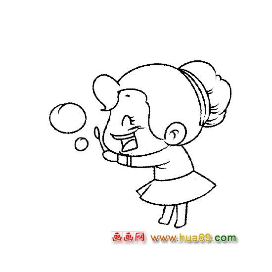 人物简笔画 吹泡泡的小女孩