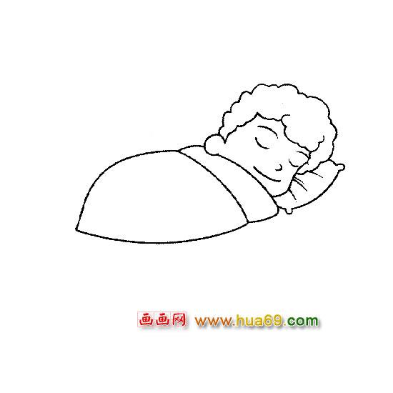 人物简笔画:睡觉的小男孩
