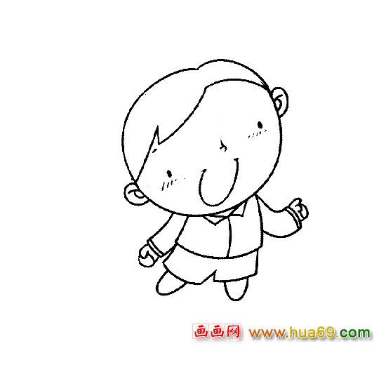 人物简笔画 唱歌的小男孩