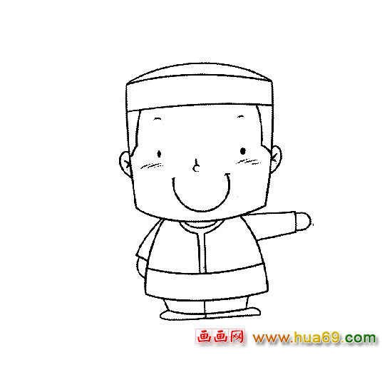 人物简笔画:戴帽子的小男孩