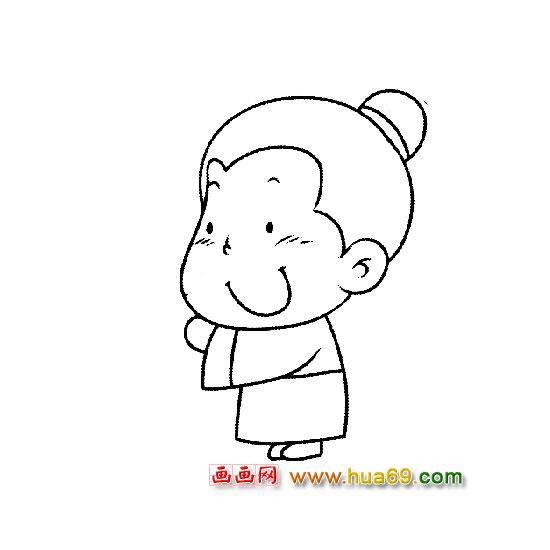 人物简笔画:古代小男孩