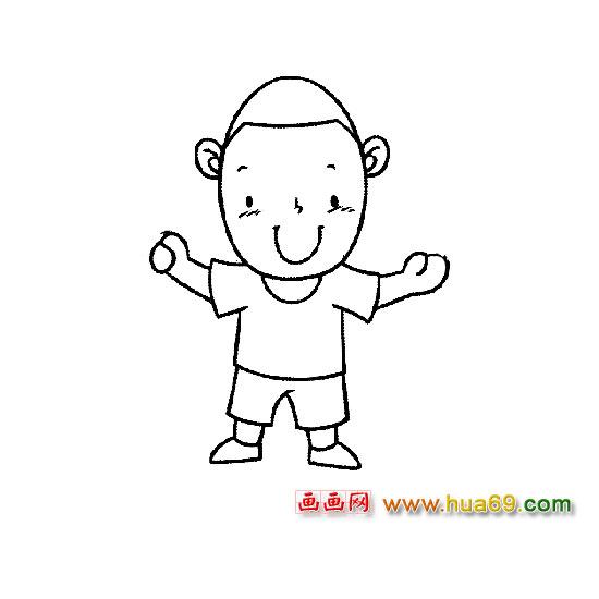 人物简笔画:做游戏的小男孩2