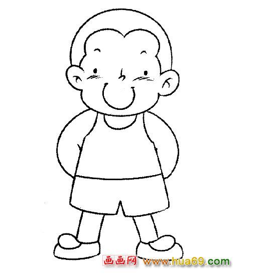 人物简笔画 穿背心的小男孩