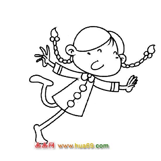 人物简笔画:手舞足蹈的小女孩