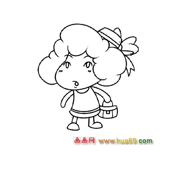 人物简笔画:出门的少女