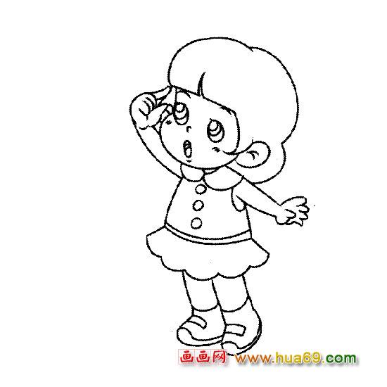 可爱小女孩 人物简笔画