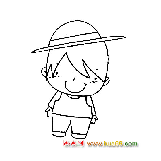 人物简笔画:戴帽子的小男孩1