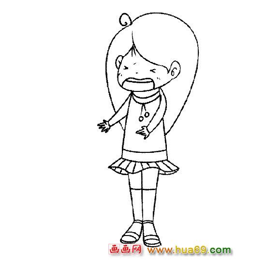 小女孩做操简笔画