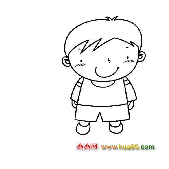 人物简笔画:微笑的小男孩