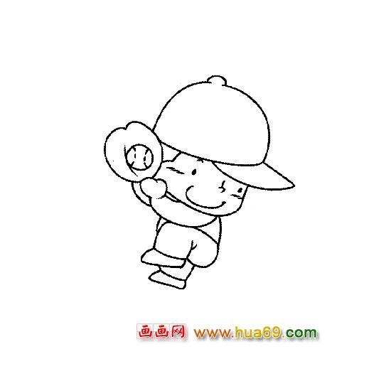 人物简笔画:玩棒球的小男孩,画画网