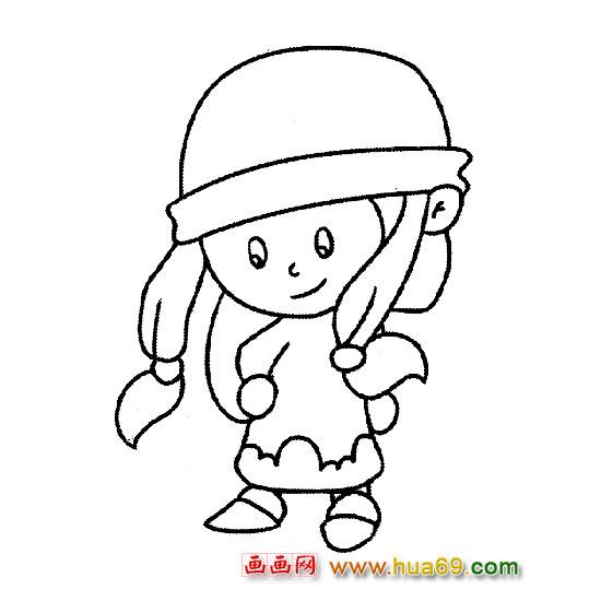 戴帽子的小女孩-人物简笔画