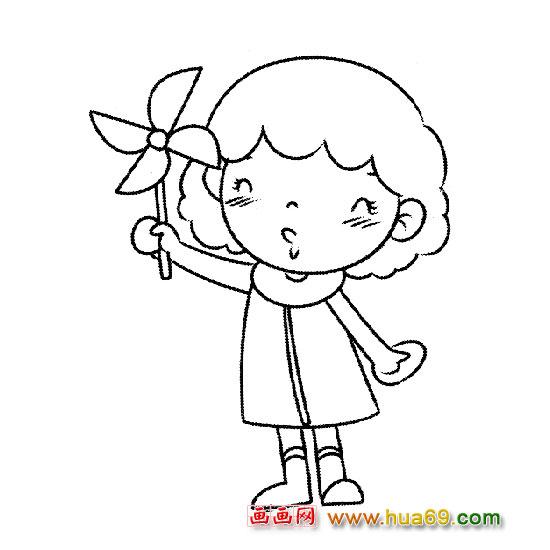 人物简笔画玩风车的小女孩简笔画 简笔画 故事中国