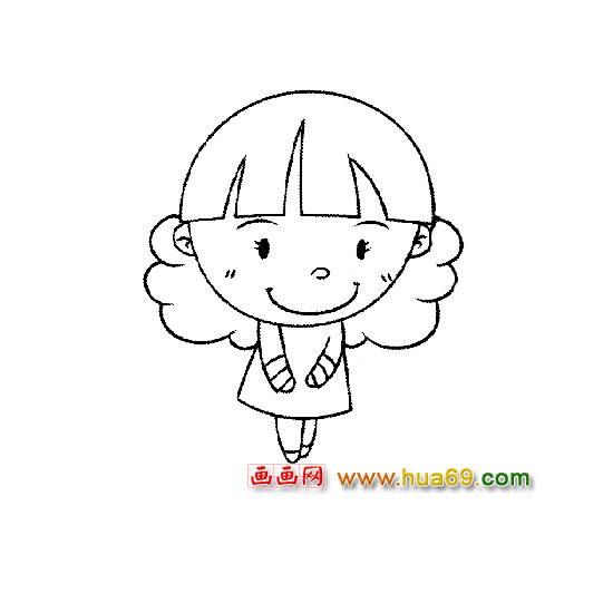 可爱的小女孩1-人物简笔画