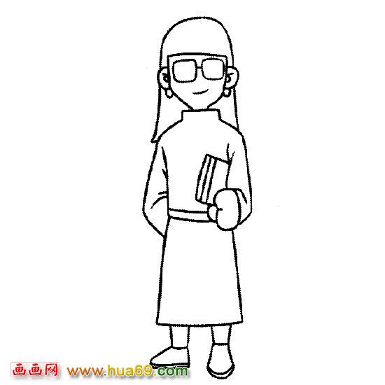 手绘戴眼镜女孩图片
