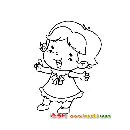 跳舞的小女孩1 人物简笔画