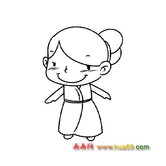 q版长发女生简笔画; 画女孩的简笔画;  (550x550)