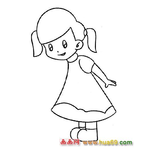 扎辫子的小女孩1-人物简笔画