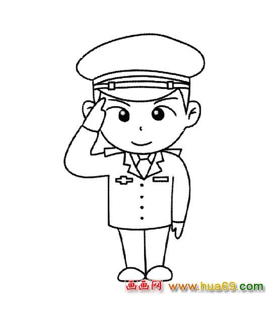 简笔画 中国警察3,画画网