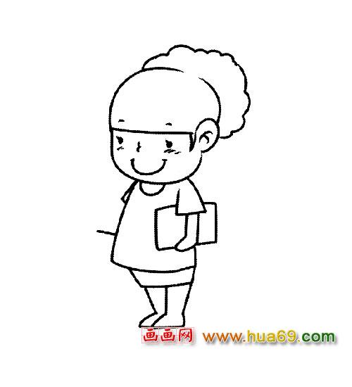 简笔画 漂亮的女老师4