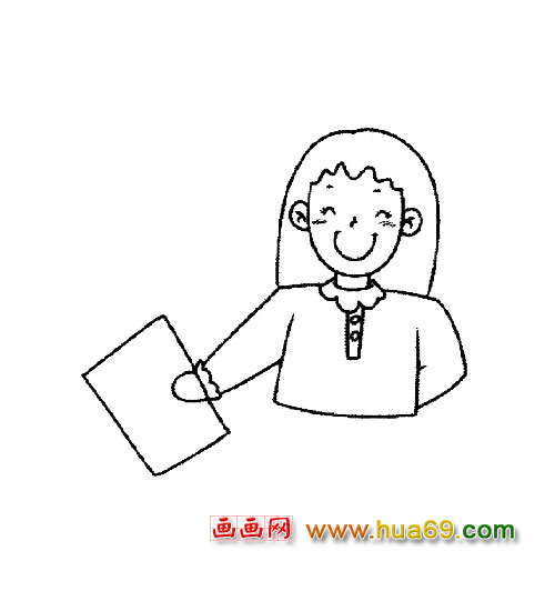 女老师的简笔画2
