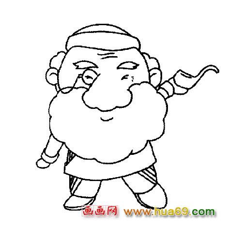 简笔画:大胡子老爷爷3
