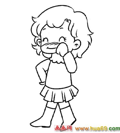 可爱的小女孩(简笔画)2