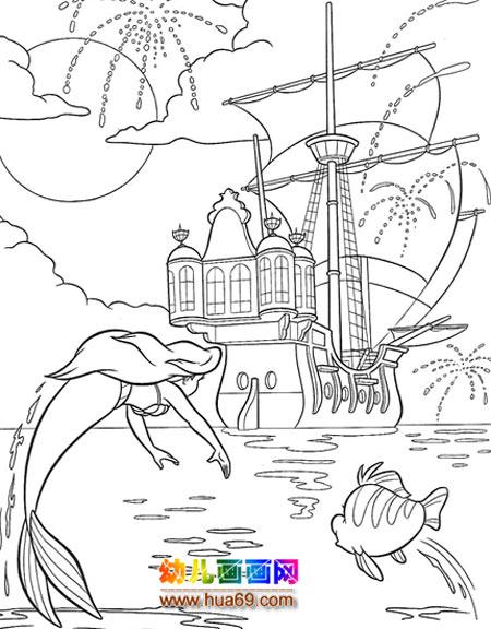 游泳的美人鱼_怎样画人物简笔画2