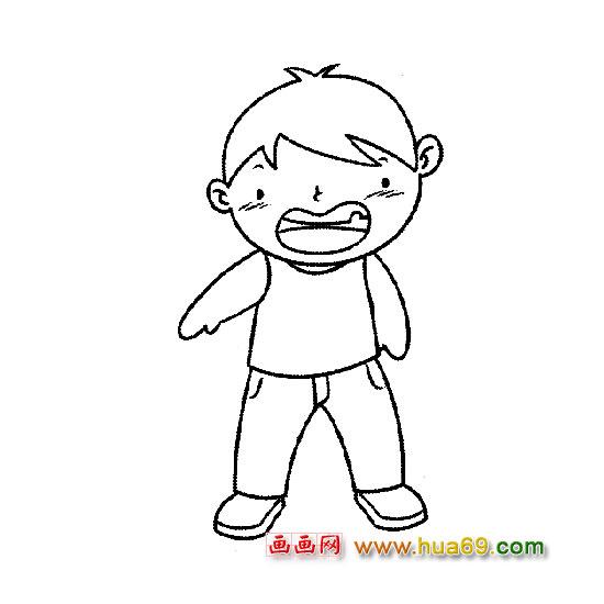 快乐的小男孩简笔画人物 快乐的小男孩人物简笔画步骤