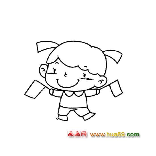 简笔画拿着小旗子的女孩儿的画法