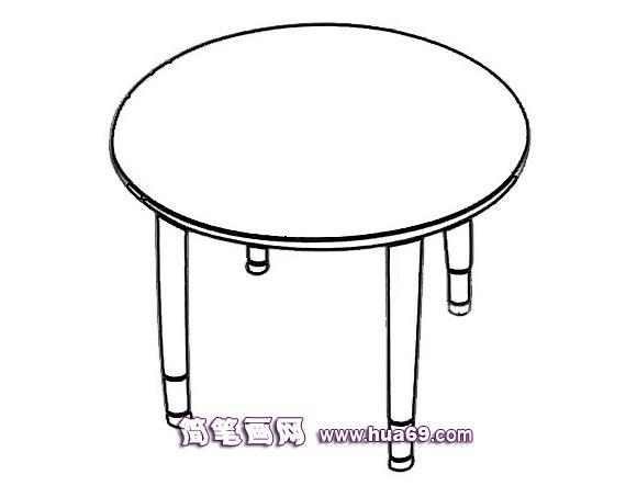 圆形桌子的简笔画,画画网