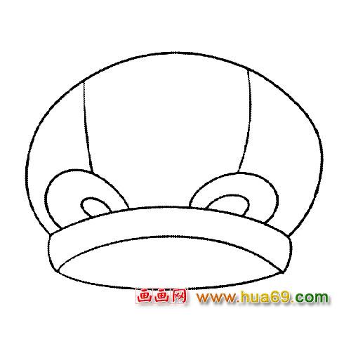 帽子简笔画:小孩帽1,画画网