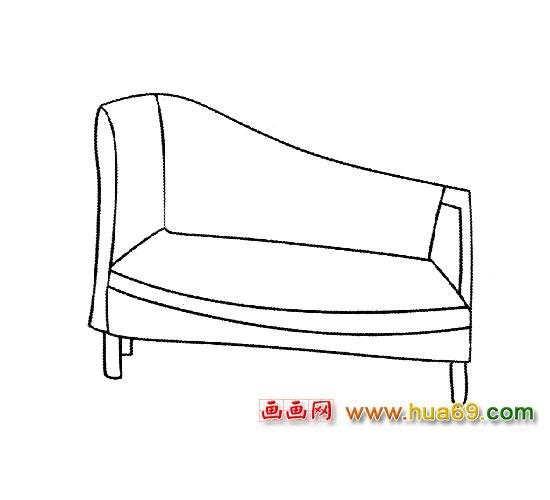 日用品简笔画│沙发3,画画网