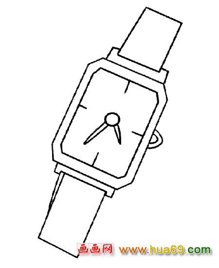 简笔画│正方形手表2,画画网