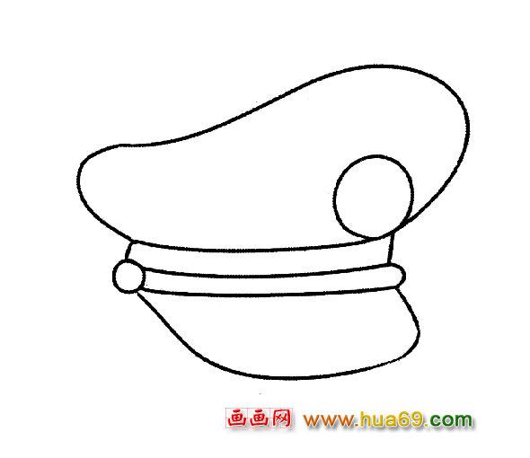 警察帽子简笔画_卡通警察简笔画