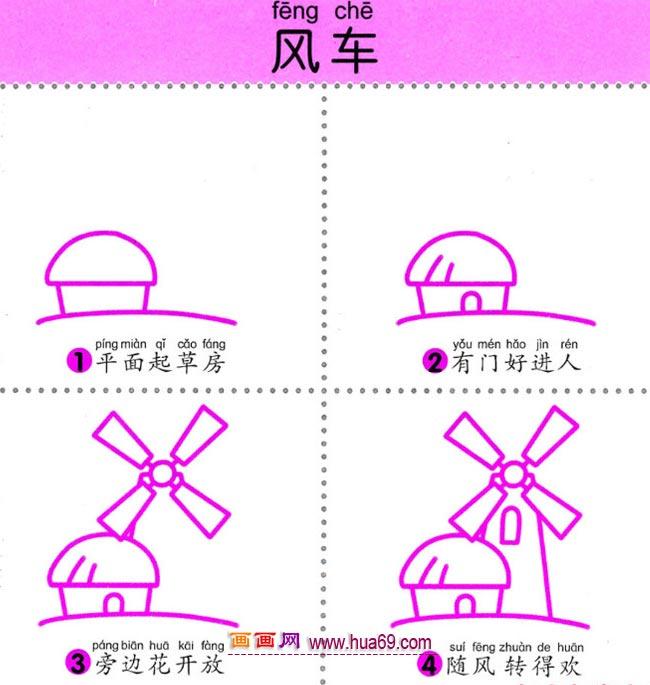 幼儿简笔画:四步法画房子和风车