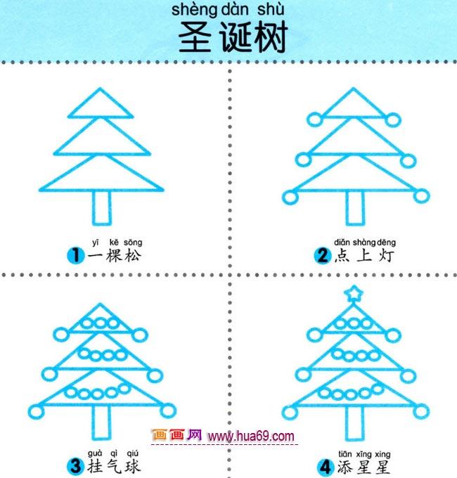 幼儿简笔画:怎样画闪亮的圣诞树