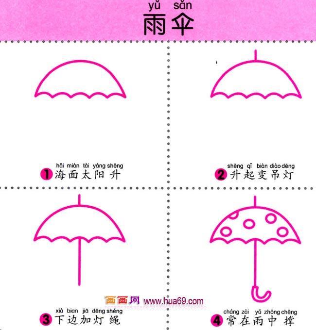 幼儿简笔画:怎样画一把雨伞