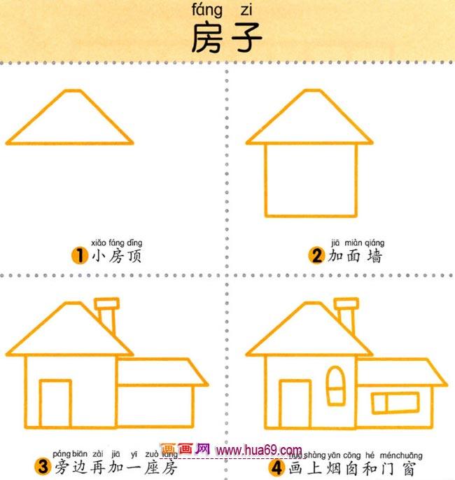幼儿简笔画:画一座乡下房子教程