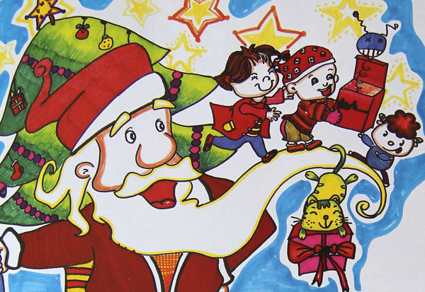 圣诞老人和小孩,幼儿彩笔画作品