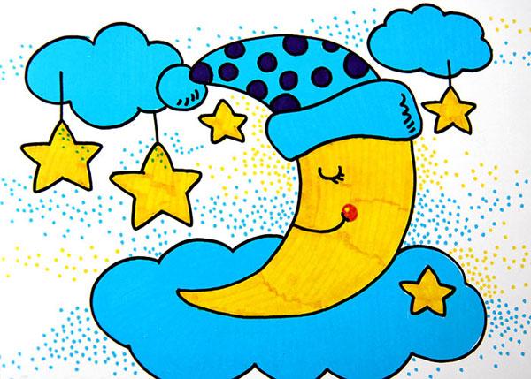 戴帽子的月亮,幼儿彩笔画作品