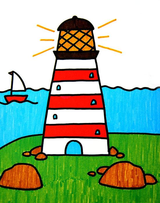 灯塔,幼儿彩笔画作品