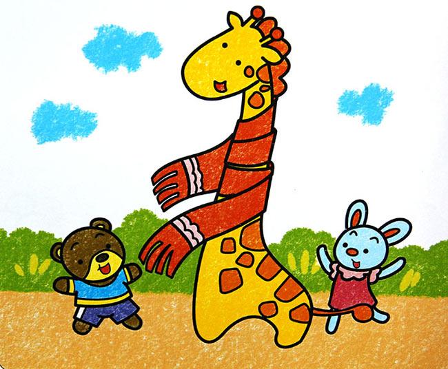 儿童油棒画作品 长颈鹿和小白兔