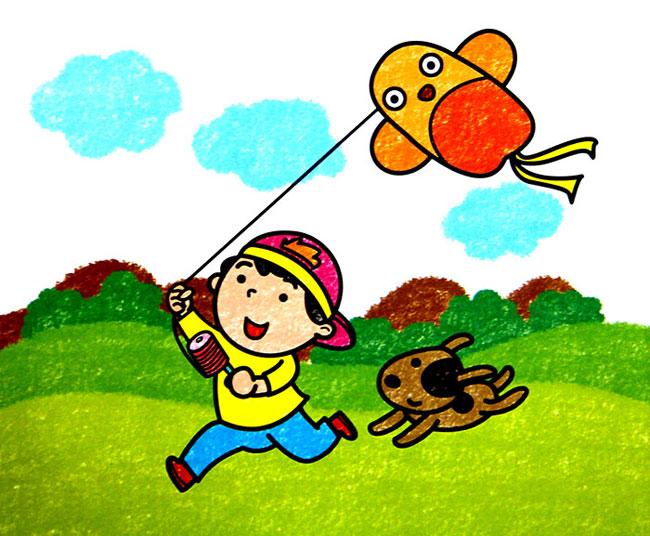 童油棒画作品 放风筝的小孩图片