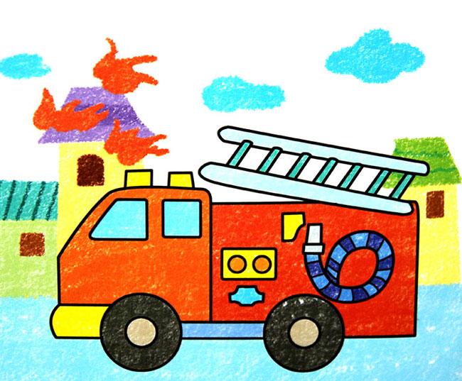 画消防车救火-童油棒画作品 救火车