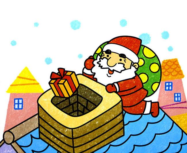 油棒画作品:圣诞老人送礼物图片图片
