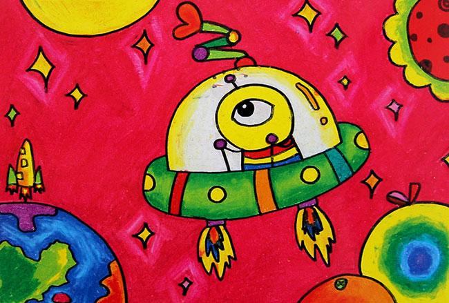 兒童油棒畫作品:外星人的飛碟