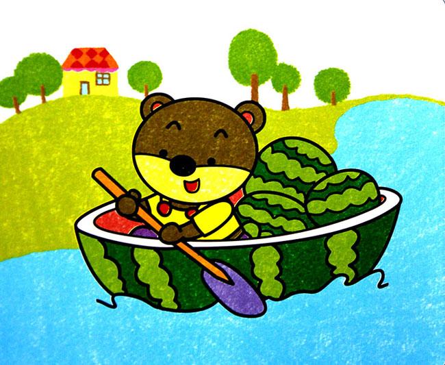 船画画图片儿童画-儿童油棒画作品 西瓜船图片
